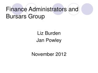 Finance Administrators and Bursars Group