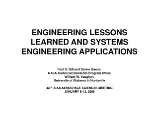 ENGINEERING LESSONS LEARNED AND SYSTEMS ENGINEERING APPLICATIONS