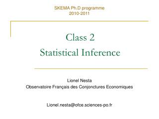 Class 2 Statistical Inference