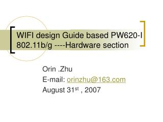 WIFI design Guide based PW620-I 802.11b/g ----Hardware section