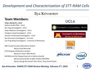 Development and Characterization of STT-RAM Cells