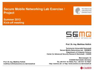 Secure Mobile Networking Lab  Exercise / Project