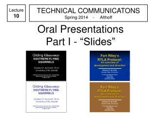 "Oral Presentations Part I - ""Slides"""