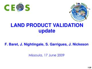 LAND PRODUCT VALIDATION update