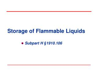 Storage of Flammable Liquids
