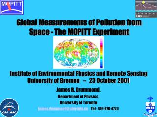 Global Measurements of Pollution from Space - The MOPITT Experiment