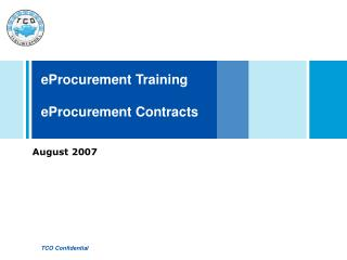 eProcurement Training  eProcurement Contracts