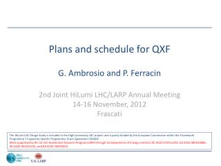 Plans and schedule for QXF