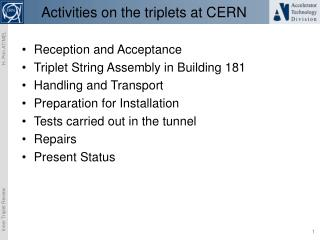 Activities on the triplets at CERN