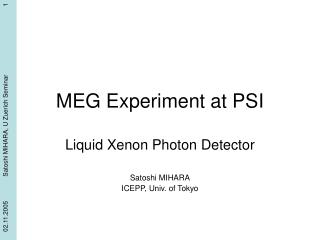 MEG Experiment at PSI