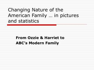 Changing Nature of the American Family … in pictures and statistics