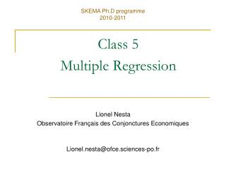 Class 5 Multiple Regression