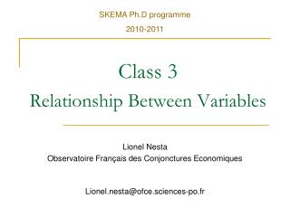 Class 3 Relationship Between Variables