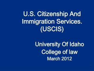 University Of Idaho  College of law March 2012