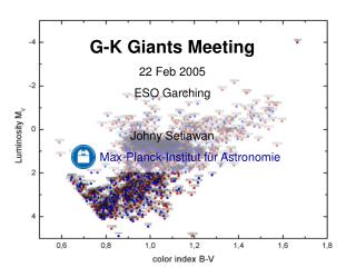 G-K Giants Meeting 22 Feb 2005  ESO Garching Johny Setiawan Max-Planck-Institut für Astronomie