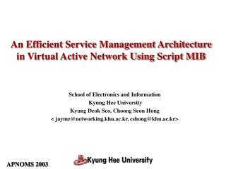 An Efficient Service Management Architecture in Virtual Active Network Using Script MIB