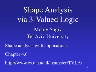 Shape Analysis via 3-Valued Logic