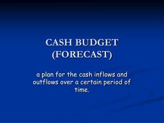 CASH BUDGET (FORECAST)