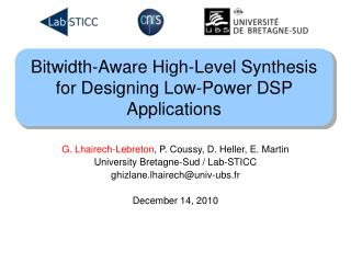 Bitwidth-Aware High-Level Synthesis for Designing Low-Power DSP Applications