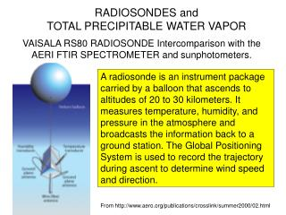 RADIOSONDES and  TOTAL PRECIPITABLE WATER VAPOR