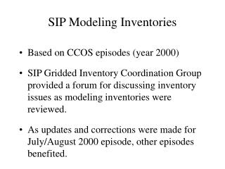 SIP Modeling Inventories