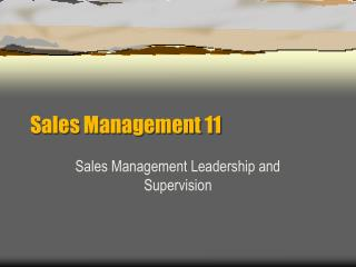 Sales Management 11