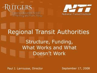 Regional Transit Authorities