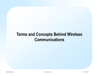 Terms and Concepts Behind Wireless Communications