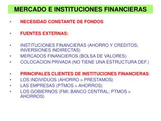 MERCADO E INSTITUCIONES FINANCIERAS