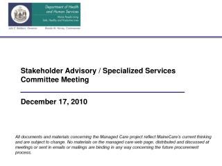 Stakeholder Advisory / Specialized Services Committee Meeting