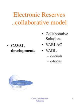 Electronic Reserves ..collaborative model