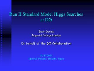 Run II Standard Model Higgs Searches  at DØ