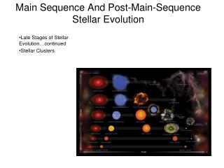 Main Sequence And Post-Main-Sequence Stellar Evolution