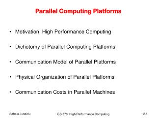 Parallel Computing Platforms