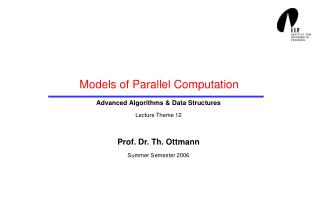 Models of Parallel Computation