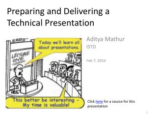 Preparing  and Delivering  a Technical Presentation
