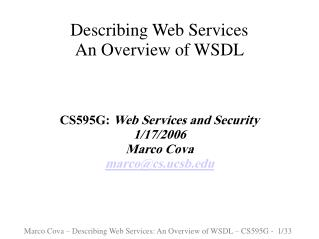 Describing Web Services  An Overview of WSDL
