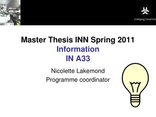 Master Thesis INN Spring 2011 Information IN A33