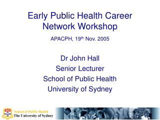Early Public Health Career Network Workshop