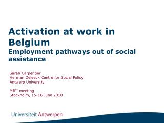 Activation at work in Belgium  Employment pathways out of social assistance