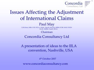 Issues Affecting the Adjustment of International Claims