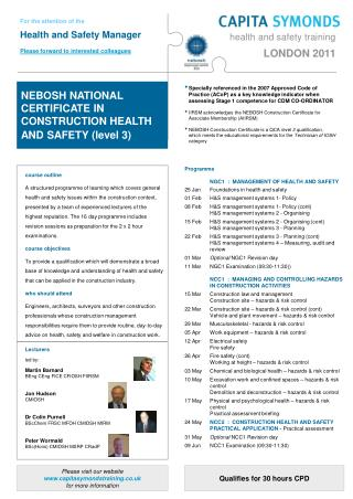 Programme 		NGC1  :  MANAGEMENT OF HEALTH AND SAFETY 25 Jan		Foundations in health and safety
