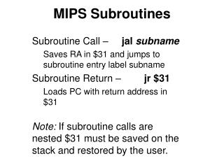 MIPS Subroutines