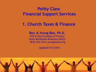 Polity Class  Financial Support Services 1. Church Taxes & Finance