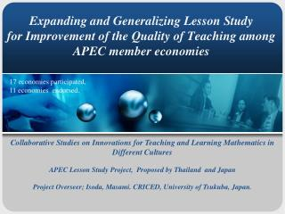 Collaborative Studies on Innovations for Teaching and Learning Mathematics in Different Cultures