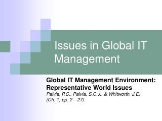 Issues in Global IT Management