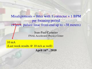 Misalignments + Jitter with 1 corrector + 1 BPM  per focusing period