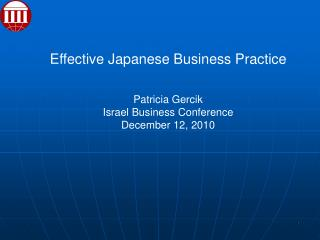 Effective Japanese Business Practice