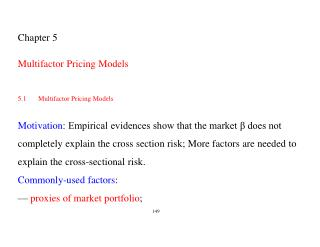 Chapter 5 Multifactor Pricing Models