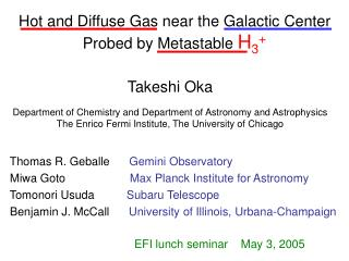 Hot and Diffuse Gas near the Galactic Center Probed by Metastable  H 3 +